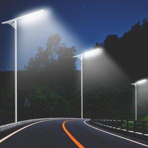 Schemat jezdni oświetlonej latarniami