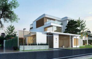 Wizualizacja domu z oświetleniem ulicznym